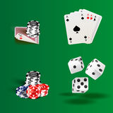 Illustration of white dice, cards and chips.  vector illustration