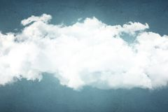 Illustration of white fluffy clouds on blue concrete wall. Place for text Stock Image