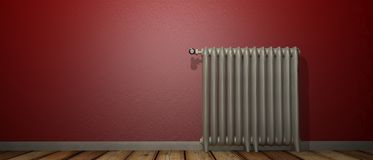 3D render of a radiator on a wood floor and against a red wall stock illustration
