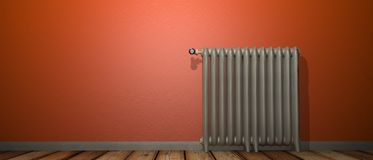 3D render of a radiator on a wood floor and against a orange wall royalty free illustration