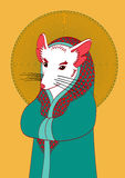 Illustration of the white mouse with pink ears and nose in a bea. Utiful mantle icon royalty free illustration