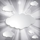 Illustration of white paper clouds collection with sun rays on c. Hequered background Royalty Free Stock Photo