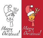 Christmas deer with hat on horns. Illustration on white and red background head of a Christmas deer with hat on horns with an inscription Stock Photography