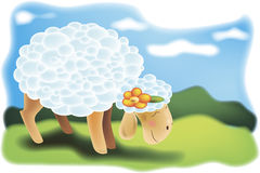 Illustration of white sheep Royalty Free Stock Photo