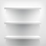 Illustration of white shelves with light. + EPS10 Royalty Free Stock Photos