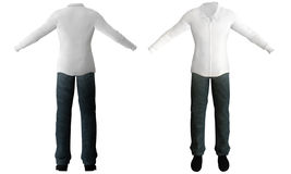 Illustration of white shirt, pants, shoes. Stock Photography