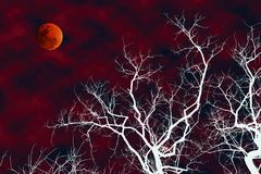 Illustration of white silhouette dead tree with blood moon stock image