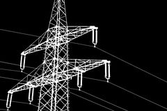 Illustration white silhouette of a power line Stock Photography
