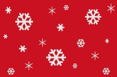 Illustration of White Snowflakes on Red Background stock photo