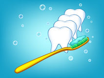 Illustration of white teeth. Illustration of teeth cleaned by the toothbrush Stock Image