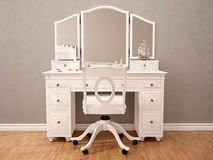 Illustration of white toilety table with mirror Stock Image