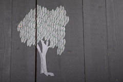 Illustration of white tree on black wooden background Royalty Free Stock Images