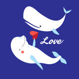 Illustration of white whales in love Stock Photo