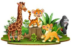 Wild animals cartoon in the park with green plants royalty free illustration