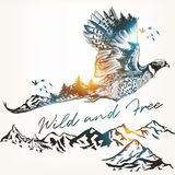 Illustration with wild forest bird and mountains, Royalty Free Stock Images