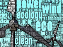 Illustration of wind turbines, made up of words Stock Photography