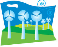 Illustration of a windfarm on green hills with clean blue sky. Royalty Free Stock Image