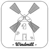 Illustration with a windmill. Stock Photography