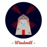 Illustration with a windmill. Royalty Free Stock Photo