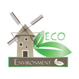 Illustration of windmill and eco leaves Stock Photo