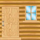 Window and door in house from tree Stock Photos
