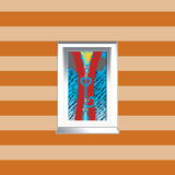 Illustration of a window on a striped wallpaper ba Stock Image