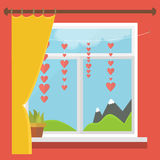 Illustration of a window with a view of the mountains, blind, hearts on a string Stock Image