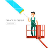 Illustration of a window washer cleaner Stock Photos