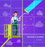 Illustration of a window washer cleaner Stock Photography