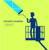 Illustration of a window washer cleaner Stock Image