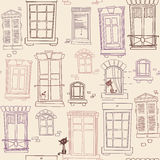 Illustration with windows, seamless pattern Royalty Free Stock Photos