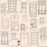 Illustration with windows, seamless pattern. Seamless pattern  with different windows  and cats Royalty Free Stock Photos
