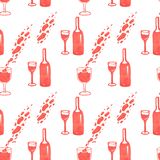 Illustration of wine bottle pattern and glass with red marker stock photo