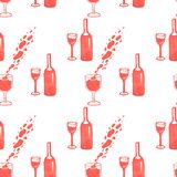 Illustration of wine bottle pattern and glass with red marker royalty free stock photo