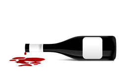 Illustration of wine bottle that spill red wine Stock Photo