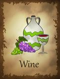 Illustration of wine in cartoon style. On retro background. Perfect for Board game design royalty free illustration