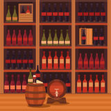 Illustration of a wine cellar. Stock Photo