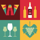 Illustration of Wine in Flat Design Style Stock Images