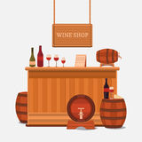 Illustration of a wine shop. Royalty Free Stock Image