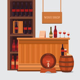 Illustration of a wine shop. Stock Photo