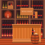 Illustration of a wine shop. Royalty Free Stock Photos
