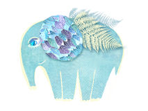 Illustration of winged abstract elephant  on white background Royalty Free Stock Photo