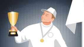 Illustration of a winner with a cgolden cup and a golden medal. Illustration of a winner with a cgolden cup royalty free illustration