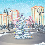 Illustration of winter with a Christmas tree.  Stock Photos