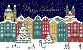 Illustration of a winter city at night time Royalty Free Stock Photo