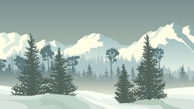 Illustration of winter coniferous forest with mountains. Stock Photo
