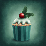 Illustration of winter cupcake Royalty Free Stock Photography