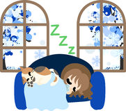 The illustration of winter. The cute illustration of autumn and winter -Nap on the sofa Stock Photo