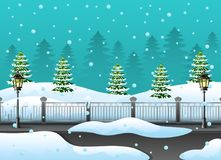 Winter forest landscape with fir tree and snow on the street. Illustration of Winter forest landscape with fir tree and snow on the street Royalty Free Stock Image