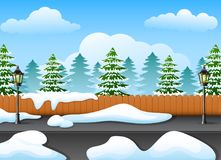 Winter forest landscape with fir tree and snowy on the street. Illustration of Winter forest landscape with fir tree and snowy on the street Stock Photo